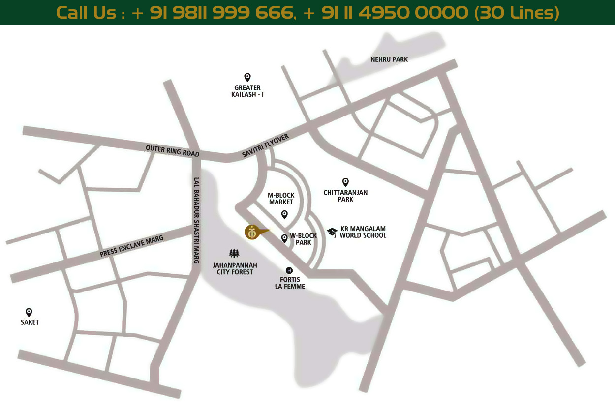 dlf-kings-court-location-map